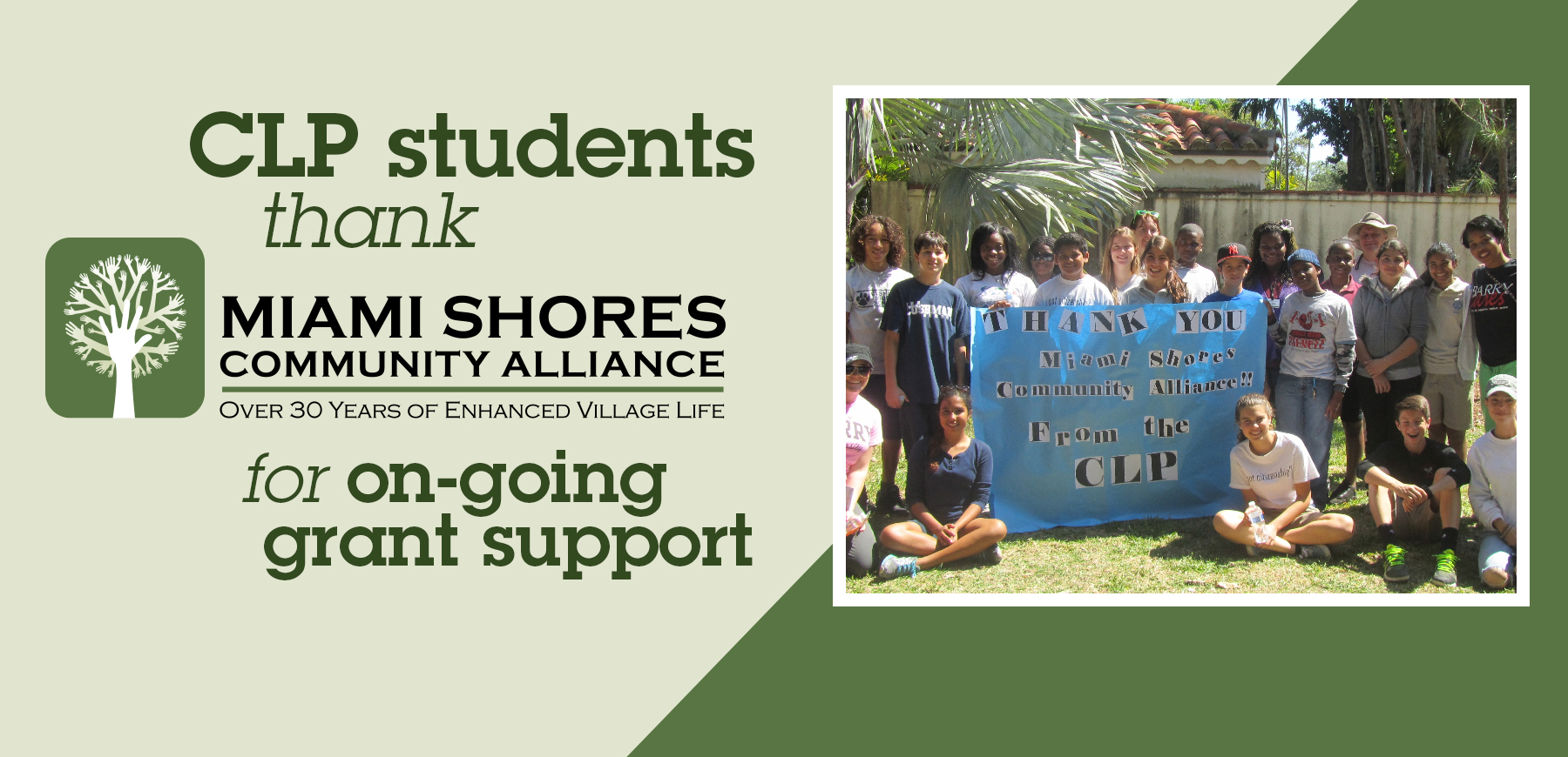 CLP students thank Miami Shores Community Alliance for on-going grant support